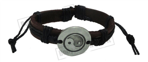 Black Tribal Feng shui Leather Bracelet Surfer Wrist Band Cuff Bangle wind water