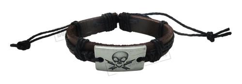 Black Tribal Pirates Leather Bracelet Skull Surfer Wrist Band Cuff Bangle string