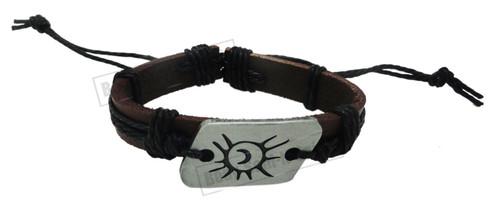 Black Bracelet Tribal sun moon summer Leather Skull Wrist Band Bangle set Surfer