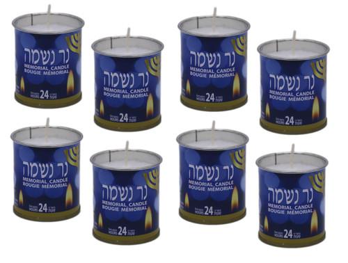 "8 Israel memorial candle Kosher Jewish classic NER NESHAMA ""soul candle"" 24 Hrs"