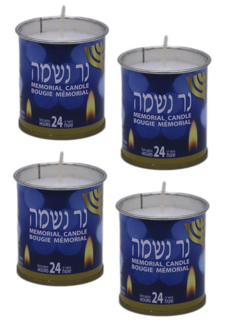 "4 Israel memorial candle Kosher Jewish classic NER NESHAMA ""soul candle"" 24 Hrs"