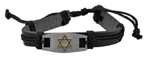 Classic Jewish Cuff Metal Star of David Bangle Leather Bracelet Wristband surfer