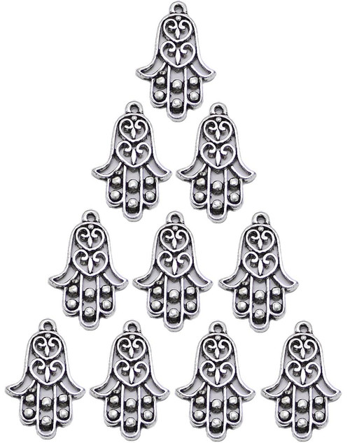 10 Heart HAMSA Silver Tone Evil Eye Charm Making Jewelry Amulet karma Pendant