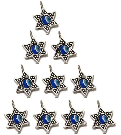10 DIY Blue Evil Eye STAR OF DAVID Pendant Holyland Luck Charm Making Jewelry