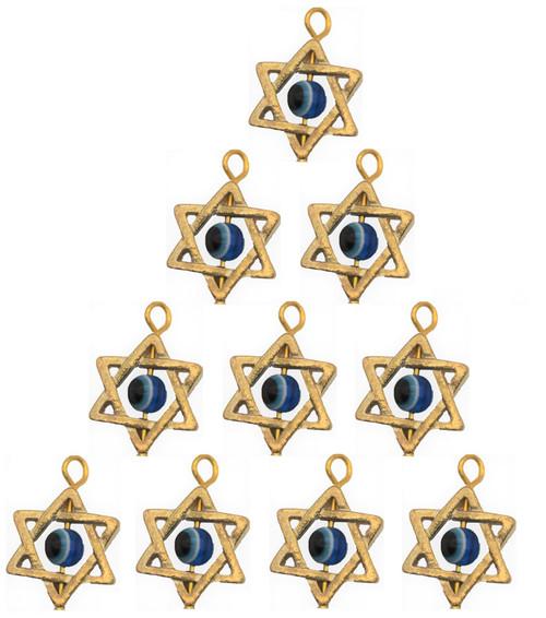 10 Holyland STAR OF DAVID DIY Blue Evil Eye Pendant Luck Charm Making Jewelry
