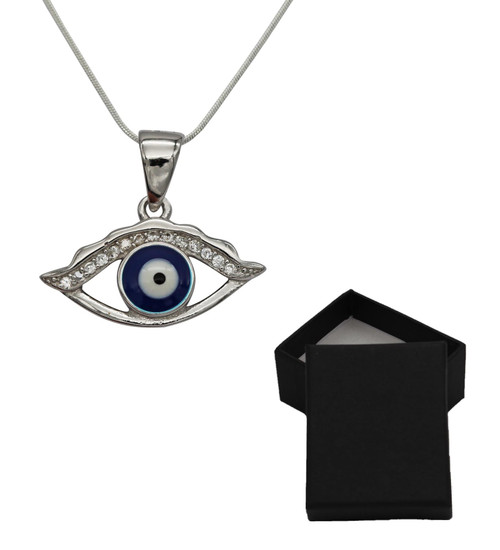 925 Silver Sterling Blue eye Luck and success Necklace protection Accessory Gift