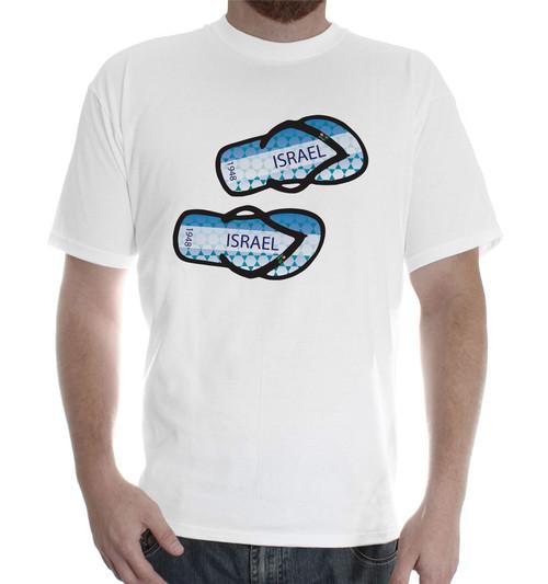 Men printed white cotton T-Shirt Fruit of the Loom shoe flip flop beach symbol