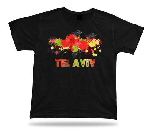 Tel Aviv Israel skyline city cloroful desin unique souvenir T shirt gift tee