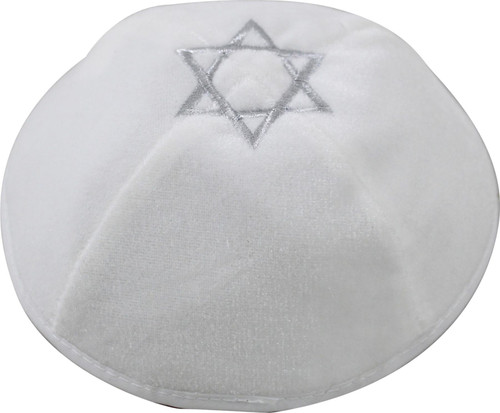 White Star of David velvet covering Cap Beanie Jewish Kippah Holyland Yarmulke