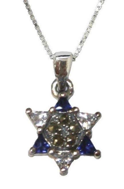 925 Silver Retro Star of David magen Shield Vintage Look Necklace holyland Gift