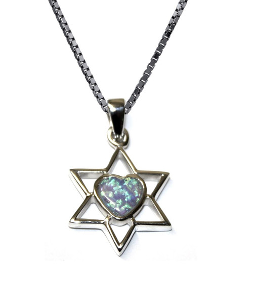 925 Silver Star of David heart opal Classic Look holyland Necklace judaica Gift