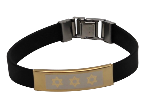 Black Stainless Steel Rubber Star of David Accessory silicone Bracelet Wristband