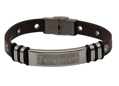Brown Classic Look Accessory Leather Bracelet Jerusalem Stainless Holy Wristband