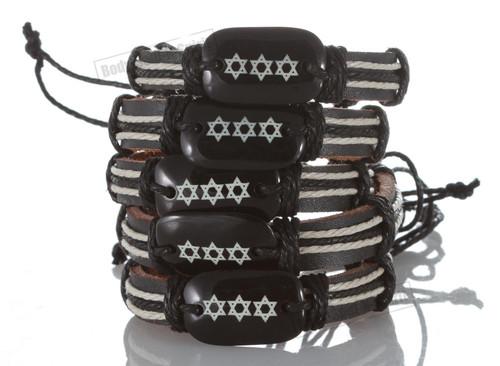 Ethnic Jewish Star of David Leather Bracelet punk Bangle Wristband awesome Gift