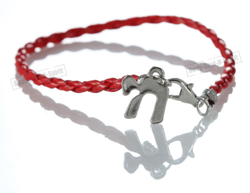 Chai Red Braided String Bracelet Lucky Charm Pendantt Kabbalah Jewish Jewelry