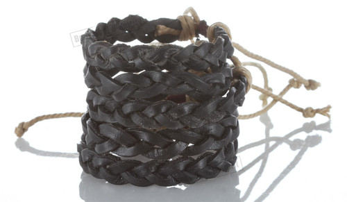 Braided Black Cool Leather Bracelet Cuff Bangle Wristband surfer stylish gift