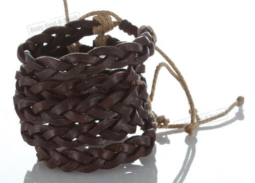 Braided Brown Ethnic Leather Bracelet Cuff Bangle Wristband surfer stylish gift