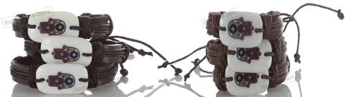Good Luck Hamsa Amulets Stylish Leather Bracelet Cuff Bangle Wrist Punk Shield