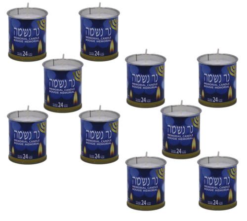 "10 Israel memorial NER NESHAMA candle Kosher Jewish classic ""soul candle"" 24 Hrs"