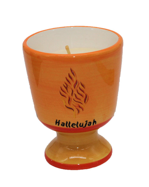 Candle Wax Ceramic Holder Judaica Memorial Shema Israel Decor Hallelujah Holiday
