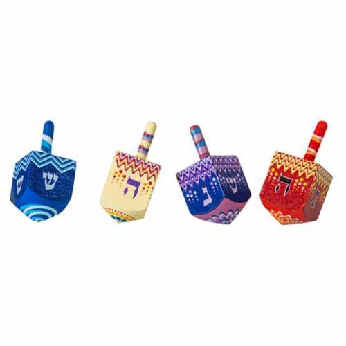 4 Classic Wood Tradition MIx Dreidels Kids toy Jewish Hanukah Gift Holiday game