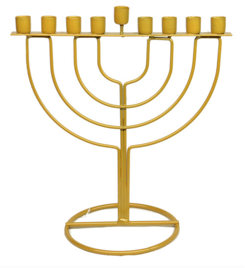 Gold Metal HANUKKAH Menorah lamp Jewish Tradition Judaica Holiday Holyland gift