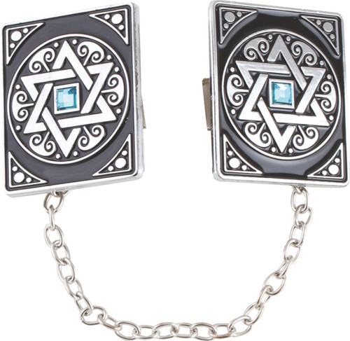 Holy SILVER PLATED Tallit Clip Israel ZION Star of David Prayer Shawl Jewish Kabbalah