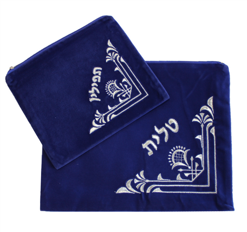 Hebrew Embroidered Tallit Talis Tefillin SKY VELVET Prayer Cover Carry BAGS #006