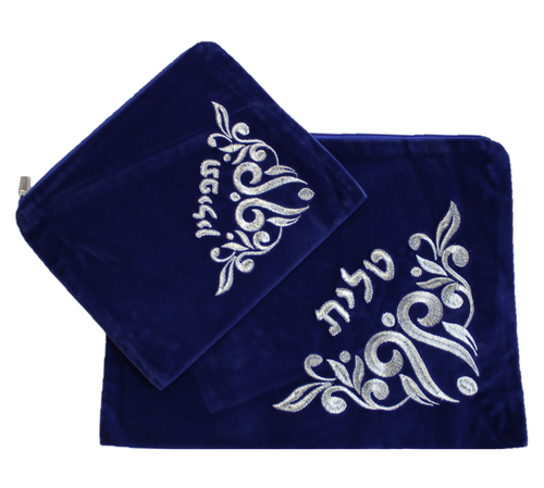 Hebrew Embroidered Tallit Talis Tefillin SKY VELVET Prayer Cover Carry BAGS #007