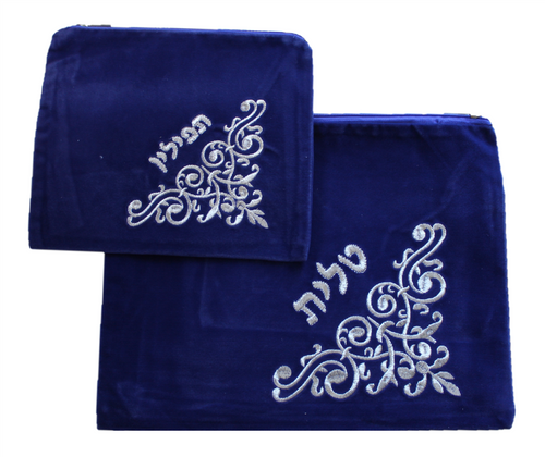 Hebrew Embroidered Tallit Talis Tefillin SKY VELVET Prayer Cover Carry BAGS #009