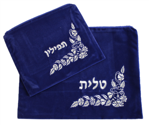 Hebrew Embroidered Tallit Talis Tefillin SKY VELVET Prayer Cover Carry BAGS #012