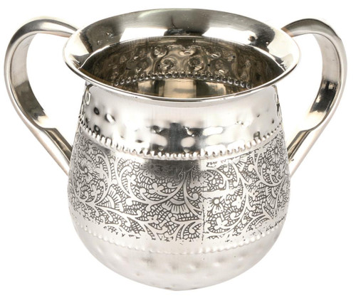 Silver Dotted Design NETILAT YADAYIM stainless steel Shabbat Hand Washing Cup