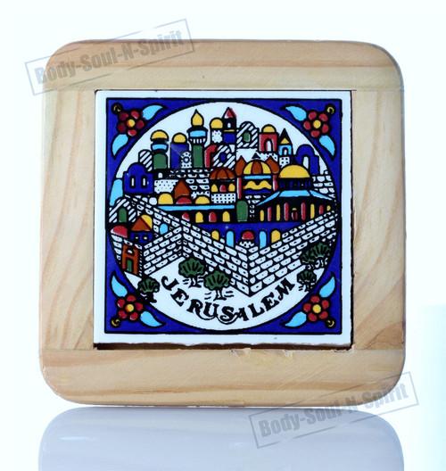 JERUSALEM Armenian Colorful Artistic Ceramic Tile Wooden Frame judaice gift