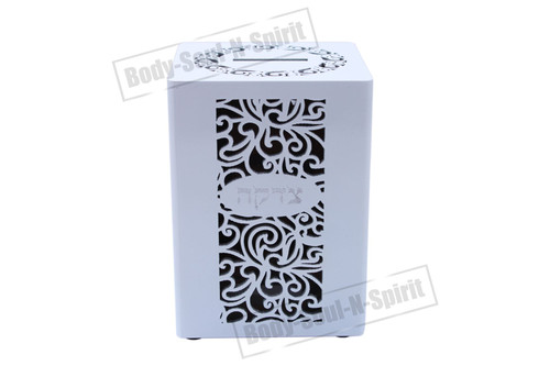 Decorated laser cuts Jewish Israel Tzedakah wood CHARITY BOX Judaica holy gift