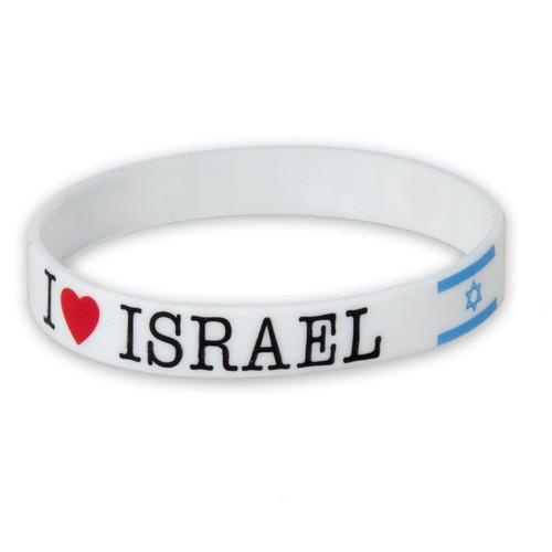 White Silicone Wrist I love Israel flag soft Rubber Bracelet Jewish souvenir Holy gift