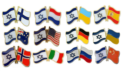 Mix Country Friendship Flags with Israel pretty Lapel PIN patriot gift