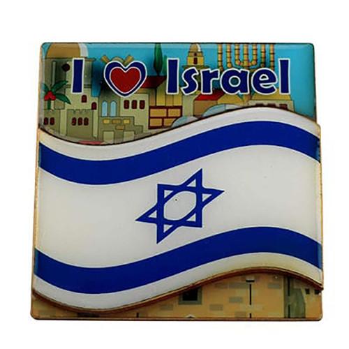 I Love Israel with Israel Flag Magnet