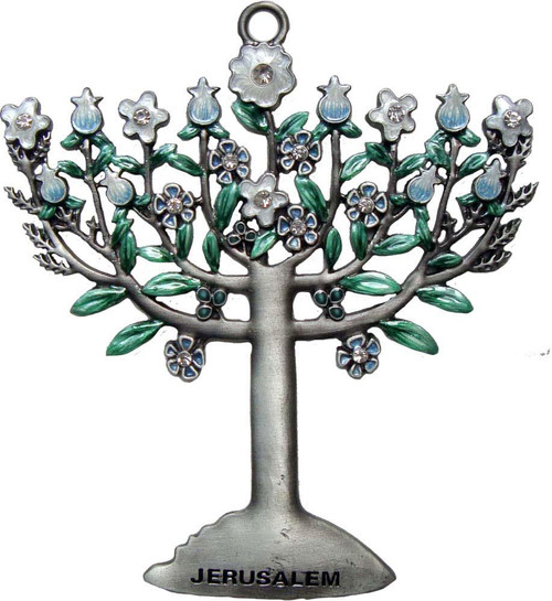Decor HANUKKAH hang  Jeweled Blooming Menorah Judaica Holiday Holyland Jerusalem gift
