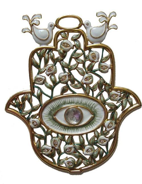 Hamsa HAND Wall Hanging Pomegranates and Evil Eye Judaica Decor LUCKY CHARM gift