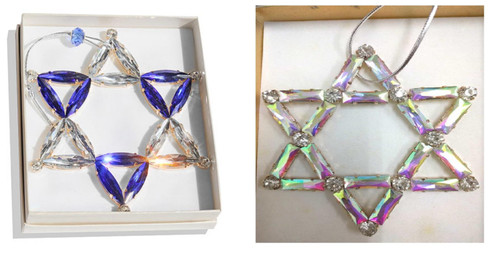Luxury Judaica Crystal Star of David Wall Hanging Metal gold plated special Gift