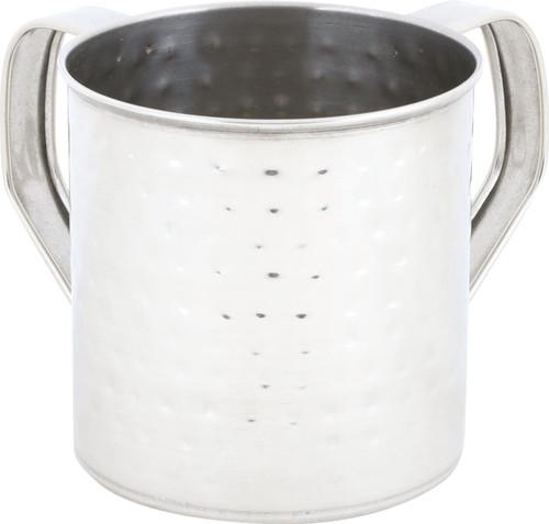 Stainless Steel Hammered Design Shabbat Hand Washing Cup 11cm NETILAT YADAYIM