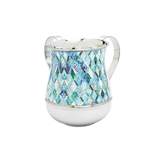 Abstract blue Design NETILAT YADAYIM stainless steel Shabbat Hand Washing Cup