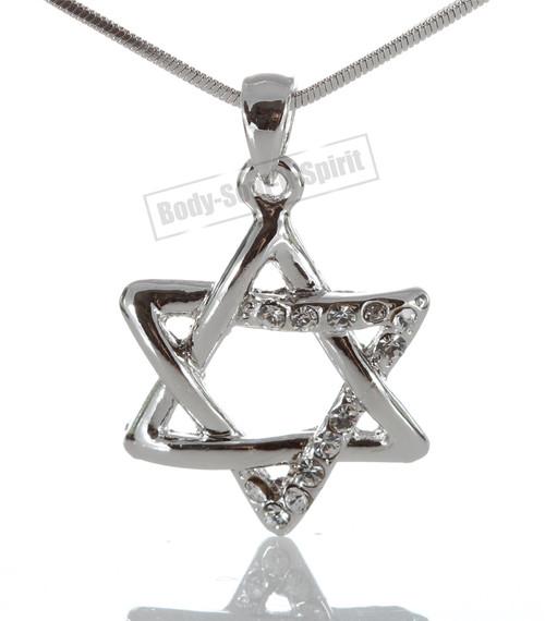 "Kabbalah Silver color Jewish charm ""Star of David"" Pedent Necklace Judaica"