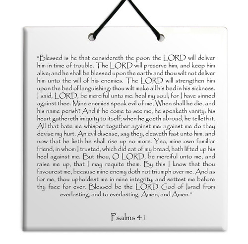Holy TEHILLIM Psalms Chapter: 41 Wall Hanging Tile Decor Torah Bible Judaica