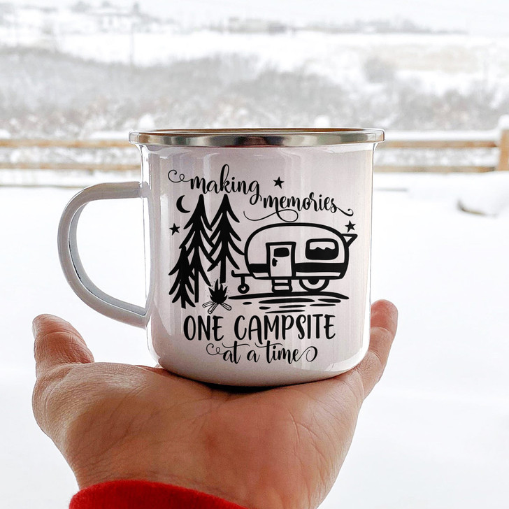 Moosfy Camping  Campfire Mug,Making Memories One Campsite At A Time | camping mug - camping gift - enamel mug- camping cups - camping gift ideas -enamel camping mugs - camping coffee mug - best camping gifts -camper mugs
