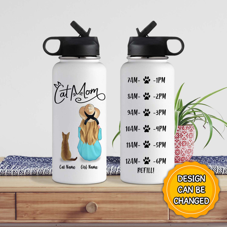 Moosfy 32oz Water Bottle, Personalized Gift For Cat Lovers, Cat Mom Gift - A Girl With Cat [ONLY SHIP IN US]