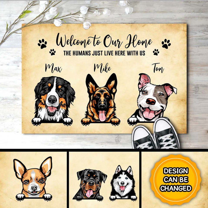 Personalized Gifts For Dog Owners Welcome To Our Home  Dog Doormat