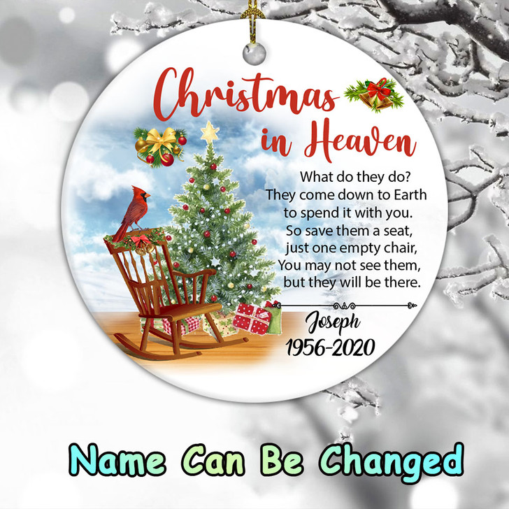 Personalized Memorial Gift Christmas In Heaven Ornament