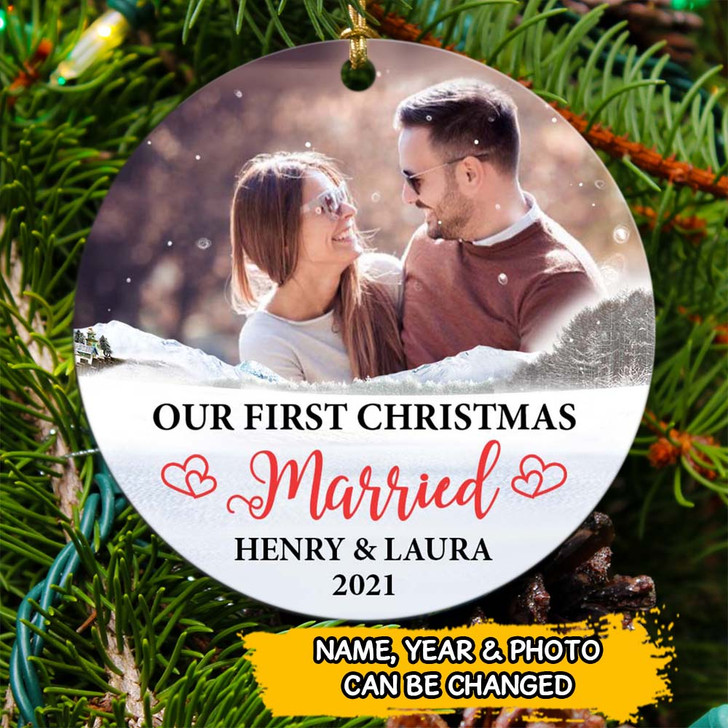 Personalized Gift For Husband Gift For Wife Our First Christmas Ornament
