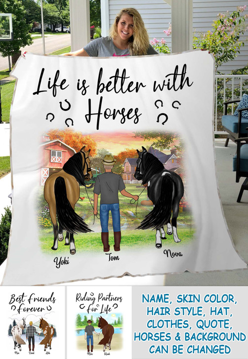Personalized Horse Gift For Man Blanket